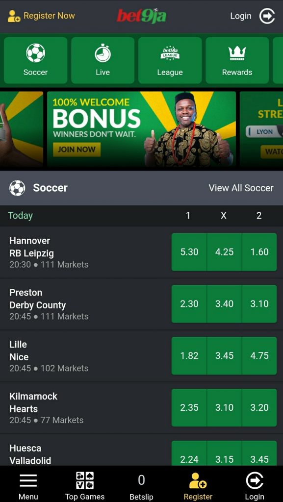Bet9ja Mobile website