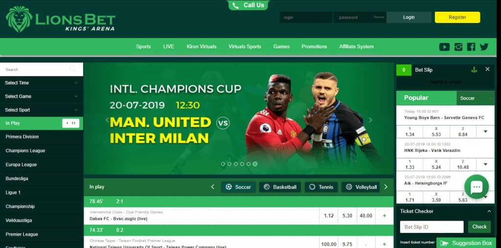 lionsbet homepage view