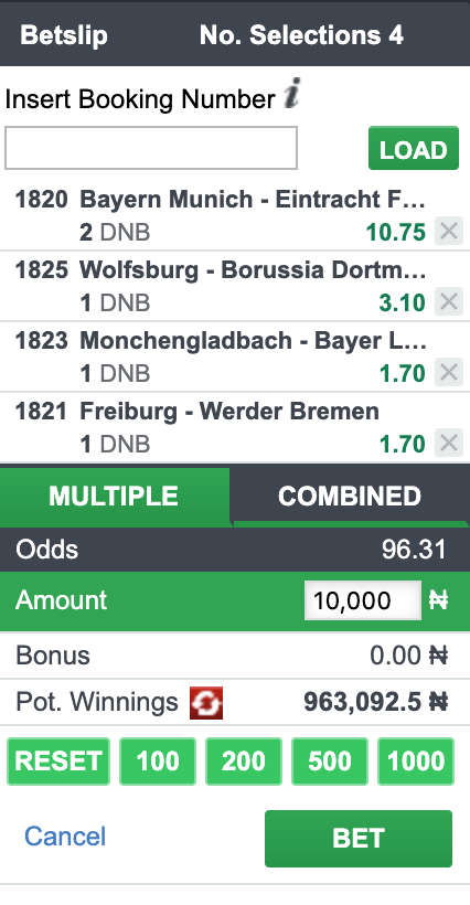 accumulator bet bet9ja draw no bet
